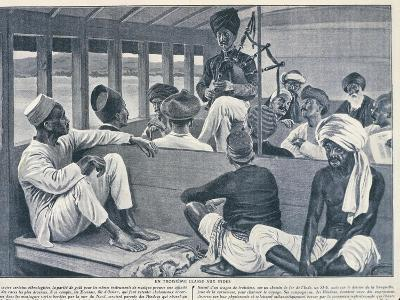 India, Sikh Playing Scottish Bagpipes in Third-Class Train Carriage from Journal Des Voyages, 1909--Giclee Print