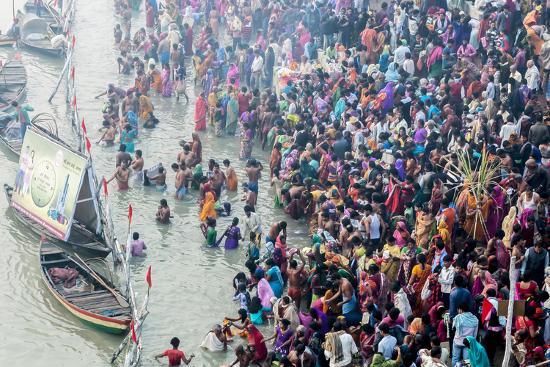 India, Sonepur, Devout Pilgrims Bathing in the Ganges River on Kartik Purnima-Ellen Clark-Photographic Print