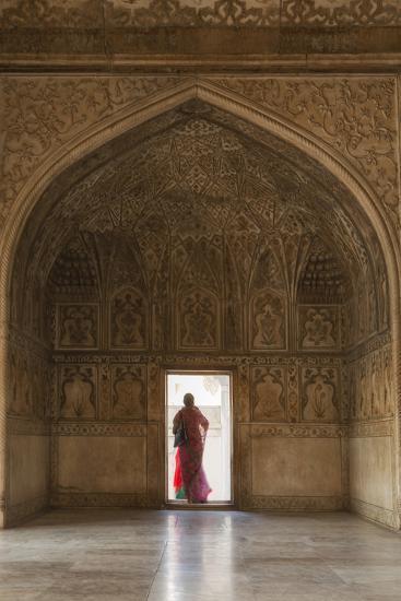 India, Uttar Pradesh, Agra, Agra Fort, a Woman in a Red Saree Walks Through the Interior-Alex Robinson-Photographic Print