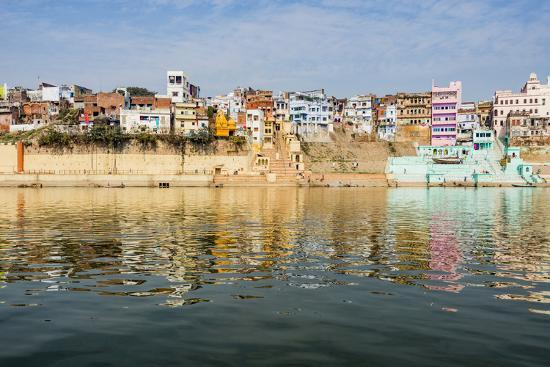 India, Uttar Pradesh. Varanasi on the Ganges River, view from river boat of Shitlo Ghat and Lal Gha-Alison Jones-Photographic Print