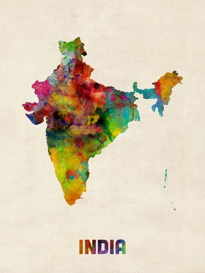 India Watercolor Map-Michael Tompsett-Art Print