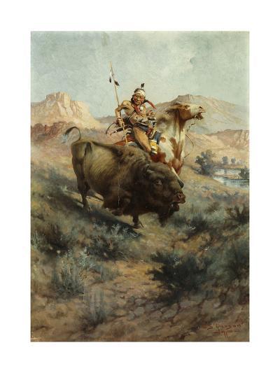 Indian and Buffalo, 1891-Edgar Samuel Paxson-Giclee Print