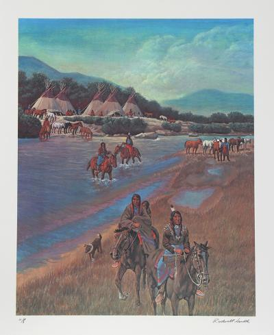 Indian Camp on Little Wood River-Rockwell Smith-Collectable Print