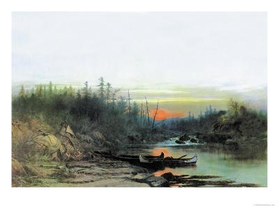 Indian Camp-Albert Bierstadt-Art Print