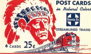 Indian Chief, Streamlined Train, Postcard Folder