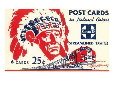 Indian Chief, Streamlined Train, Postcard Folder--Art Print
