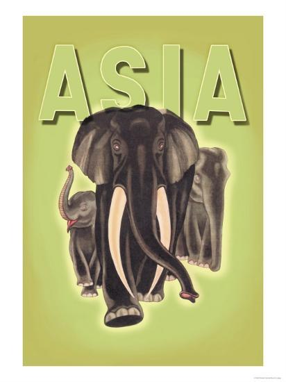 Indian Elephants-Robert Harrer-Art Print