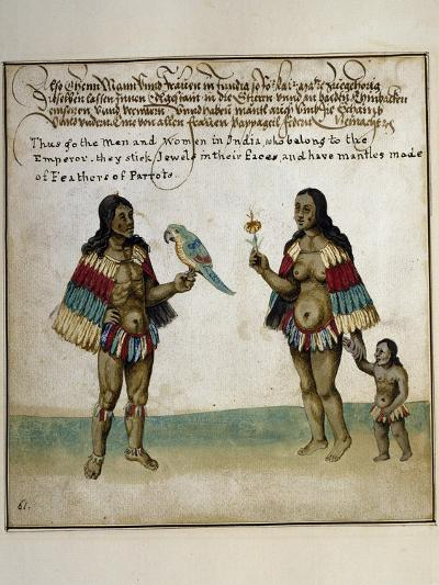 Indian Inhabitants, Watercolor Print, Newport, 1712--Giclee Print