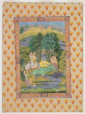 Krishna and the Gopis (Gouache on Paper)