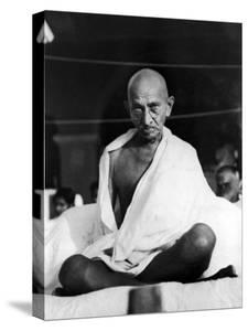 Indian Leader Mohandas Gandhi Sitting Cross Legged at Prayer Meeting