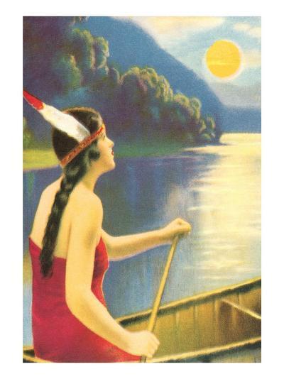 Indian Maiden Watching Sunset--Art Print