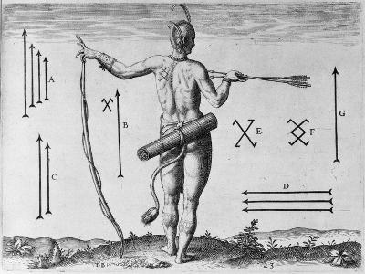 Indian Markings, Engraved by Theodor De Bry (1528-1598)-John White-Giclee Print