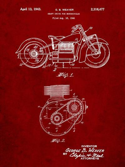Indian Motorcycle Drive Shaft Patent-Cole Borders-Art Print