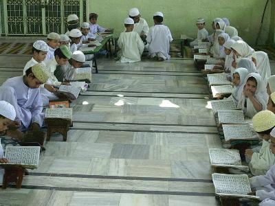 Indian Muslim Children Read the Holy Quran--Photographic Print