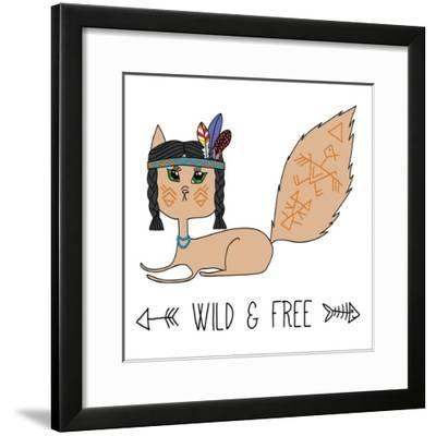 Indian Native American Cat, Sketch Doodle Drawing, Poster, Postcard and T-Shirt Print, Vector Illus-Cat Naya-Framed Premium Giclee Print