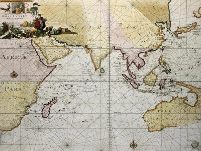 Indian Ocean Old Map, Southern Asia, Eastern Africa And West Australia-marzolino-Art Print