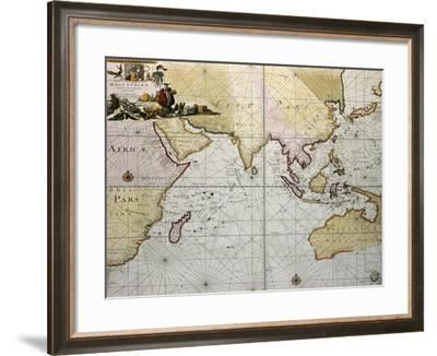 Indian Ocean Old Map, Southern Asia, Eastern Africa And West Australia-marzolino-Framed Art Print