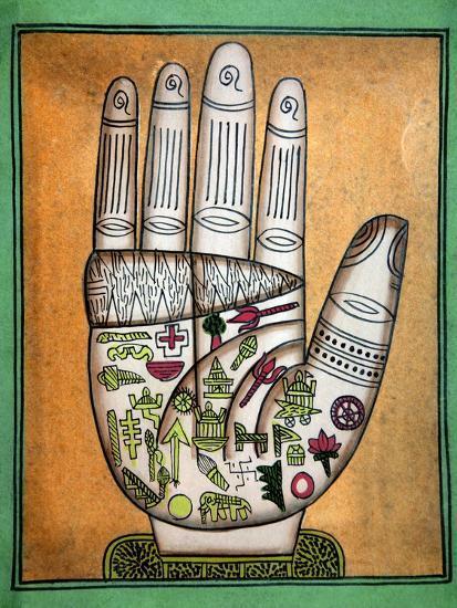 Indian Palmistry Map-Victor De Schwanberg-Photographic Print