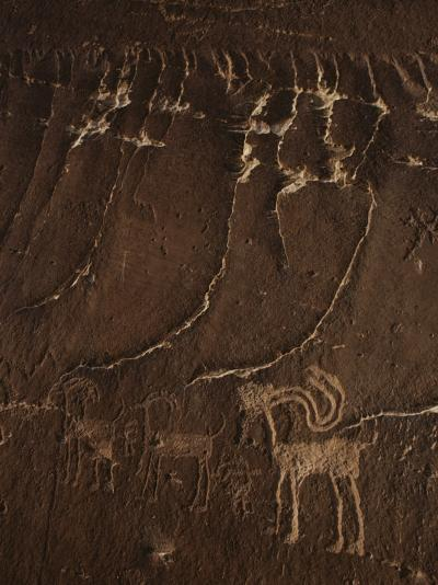 Indian Petroglyph Depicting a Mountain Sheep-Paul Chesley-Photographic Print