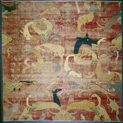 Portion of a Carpet with Fantastic Animals on Red Ground, Mughal, C.1580/85 (Cotton and Wool Pile)