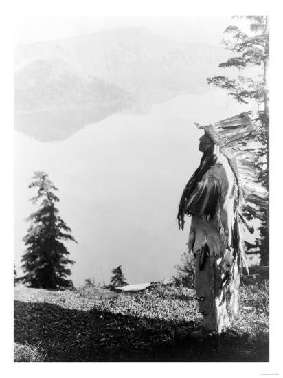 Indian Praying to the Spirits at Crater Lake, OR Photograph - Crater Lake, OR-Lantern Press-Art Print