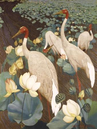 Indian Sarus Cranes on Gold Leaf-Jesse Arms Botke-Art Print