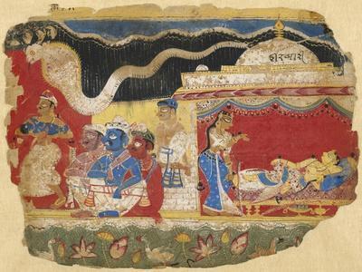 Infant Krishna Spirited Away by Vasudev, from the Dispersed Bhagavatapurana manuscript, circa 1520