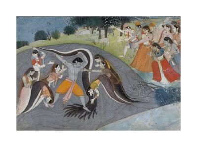 Krishna Subduing Kaliya, the Snake Demon, c.1785