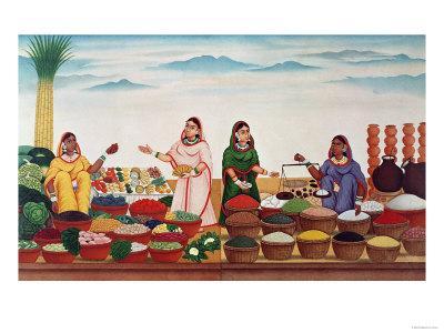 Vegetable and Spice Market at Benares, circa 1840