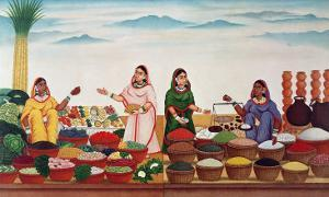 Vegetable and Spice Market at Benares, circa 1840 by Indian School
