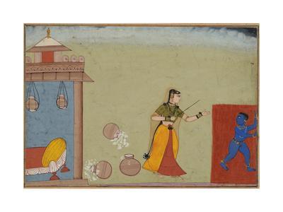 Yashoda Chastises Her Foster Son, Krishna, page from a manuscript of the Bhagavata Purana, c.1600