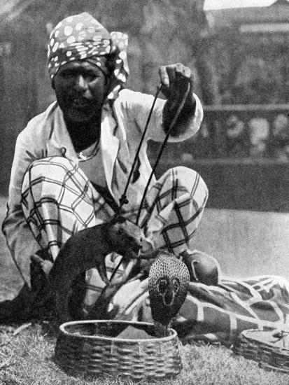 Indian Snake Charmer with Mongoose and Cobra, 1936--Giclee Print
