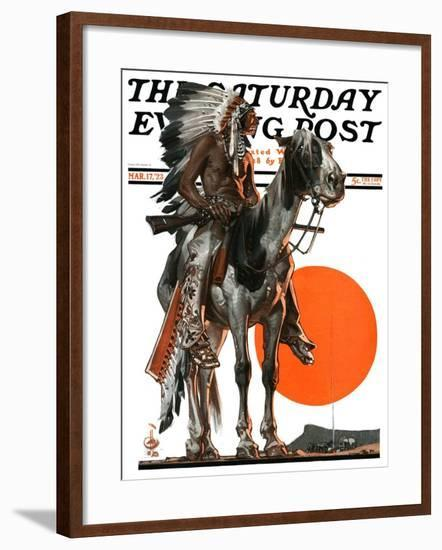 """""""Indian Sunset,"""" Saturday Evening Post Cover, March 17, 1923-Joseph Christian Leyendecker-Framed Giclee Print"""
