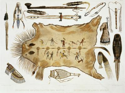 """Indian Utensils and Arms, Plate 21 from Volume 2 of """"Travels in the Interior of North America""""-Karl Bodmer-Giclee Print"""