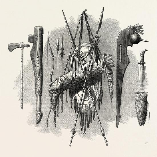 Indian Weapons; Spear, Axe, Bow and Arrow, USA, 1870S--Giclee Print