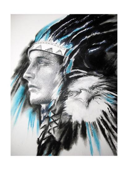Indian With Eagle-clarkart-Art Print