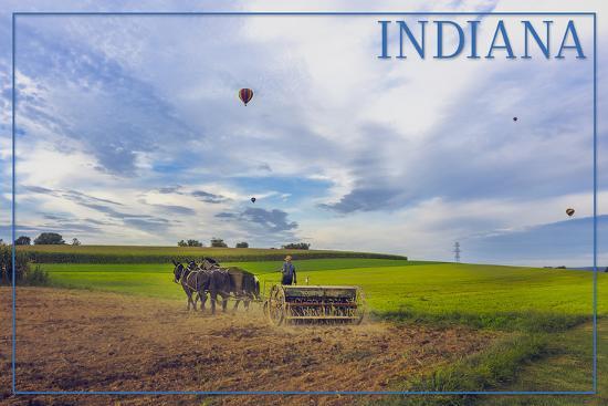 Indiana - Amish Farmer and Hot Air Balloons-Lantern Press-Art Print