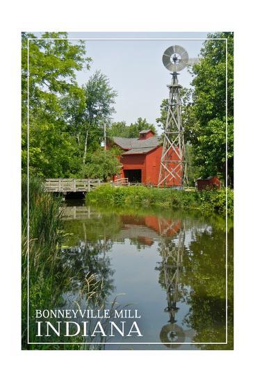 Indiana - Bonneyville Mill-Lantern Press-Art Print