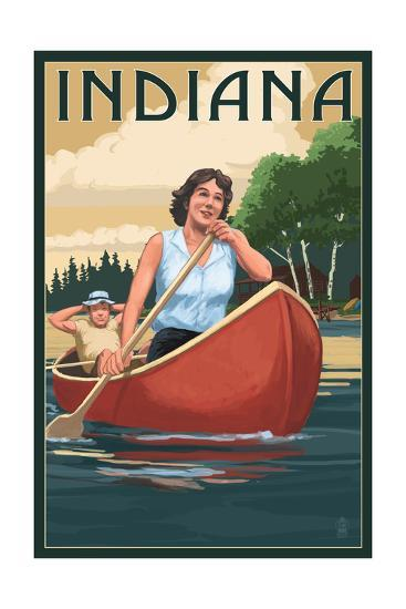 Indiana - Canoers on Lake-Lantern Press-Art Print