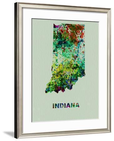 Indiana Color Splatter Map-NaxArt-Framed Art Print