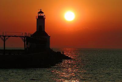 Indiana Dunes lighthouse at sunset, Indiana Dunes, Indiana, USA-Anna Miller-Photographic Print
