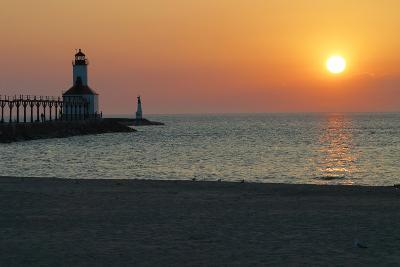 Indiana Dunes lighthouse at sunset, Indiana Dunes, Indiana, USA-Anna Miller-Photographic Print