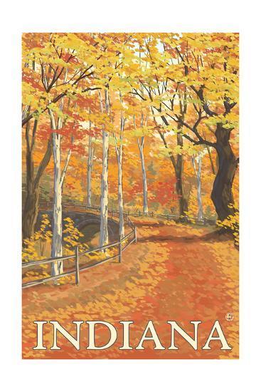 Indiana - Fall Colors-Lantern Press-Art Print