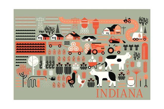 Indiana - Farm Folk Art-Lantern Press-Art Print