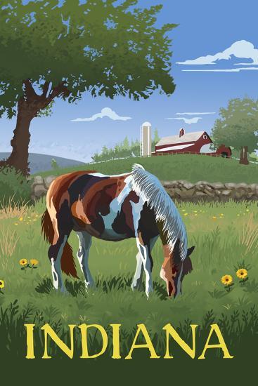 Indiana - Horse in Field-Lantern Press-Art Print