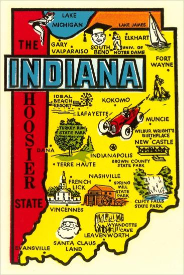 Indiana Map Decal--Art Print