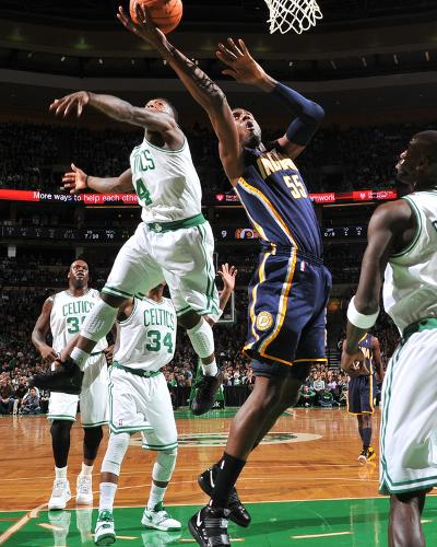 Indiana Pacers v Boston Celtics: Roy Hibbert and Nate Robinson-Brian Babineau-Photo