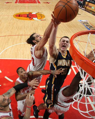 Indiana Pacers v Chicago Bulls - Game Two, Chicago, IL- April 18: Tyler Hansbrough and Joakim Noah--Photo