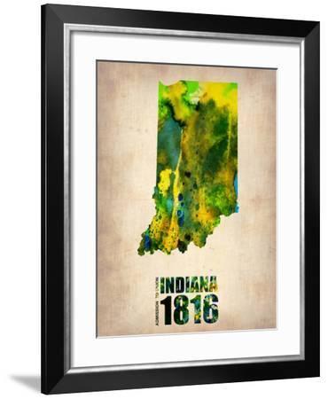Indiana Watercolor Map-NaxArt-Framed Art Print