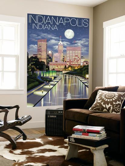 Indianapolis, Indiana - Indianapolis at Night-Lantern Press-Wall Mural